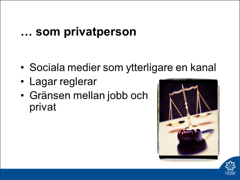 … som privatperson Sociala medier som ytterligare en kanal Lagar reglerar Gränsen mellan jobb och privat