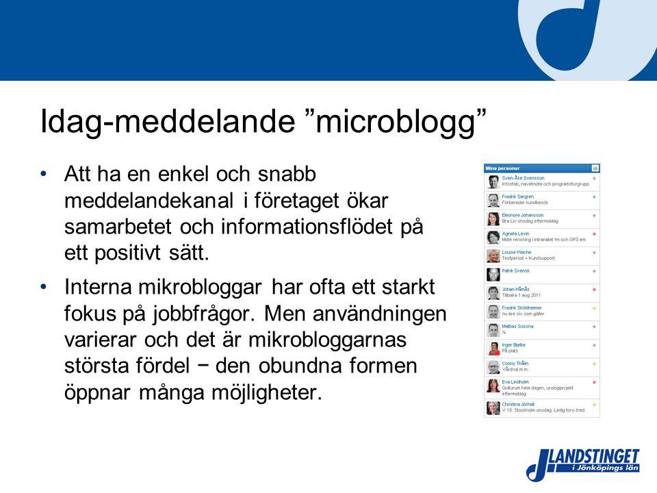 """Idag-meddelande """"microblogg"""" Att ha en enkel och snabb meddelandekanal i företaget ökar samarbetet och informationsflödet på ett positivt sätt. Intern"""