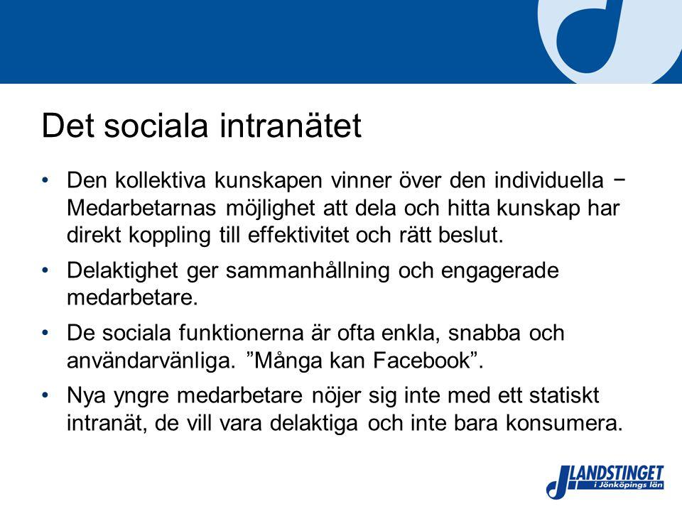 Det sociala intranätet Den kollektiva kunskapen vinner över den individuella − Medarbetarnas möjlighet att dela och hitta kunskap har direkt koppling till effektivitet och rätt beslut.