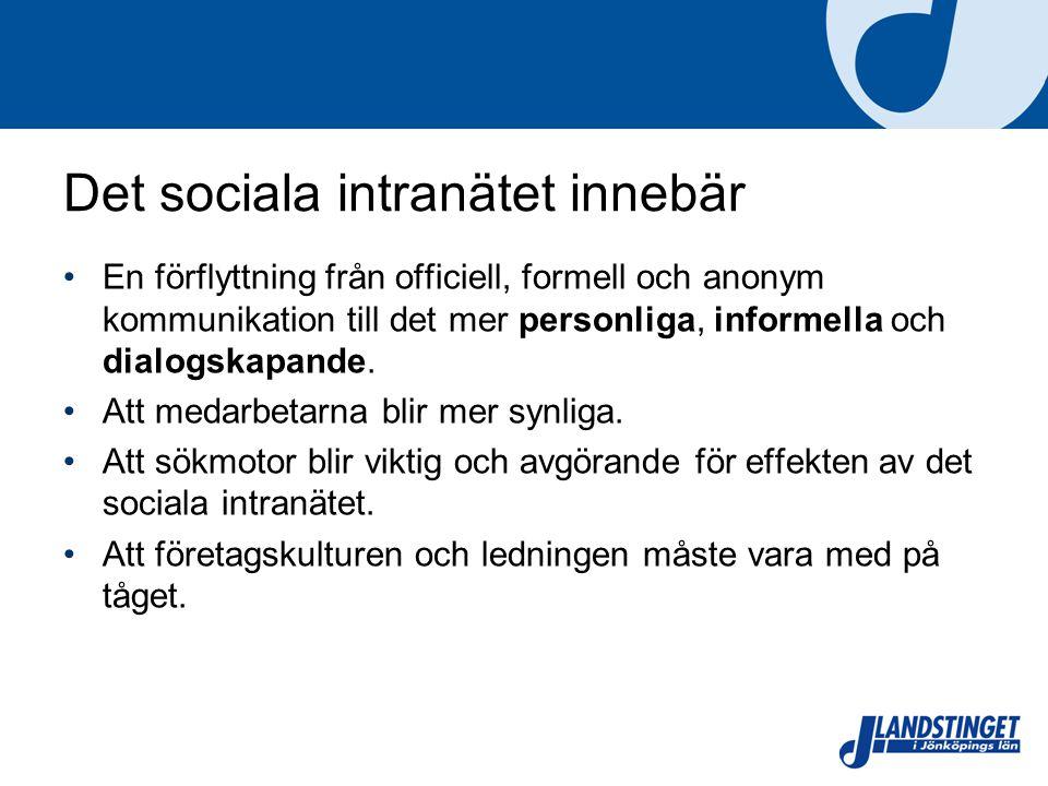 Det sociala intranätet innebär En förflyttning från officiell, formell och anonym kommunikation till det mer personliga, informella och dialogskapande.