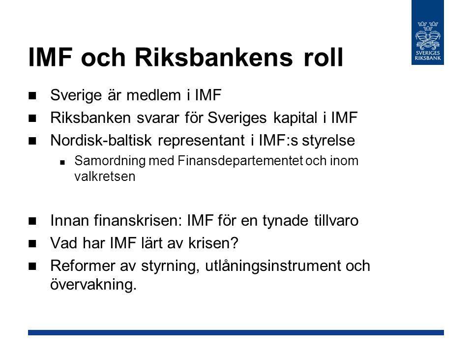 IMF och Riksbankens roll Sverige är medlem i IMF Riksbanken svarar för Sveriges kapital i IMF Nordisk-baltisk representant i IMF:s styrelse Samordning
