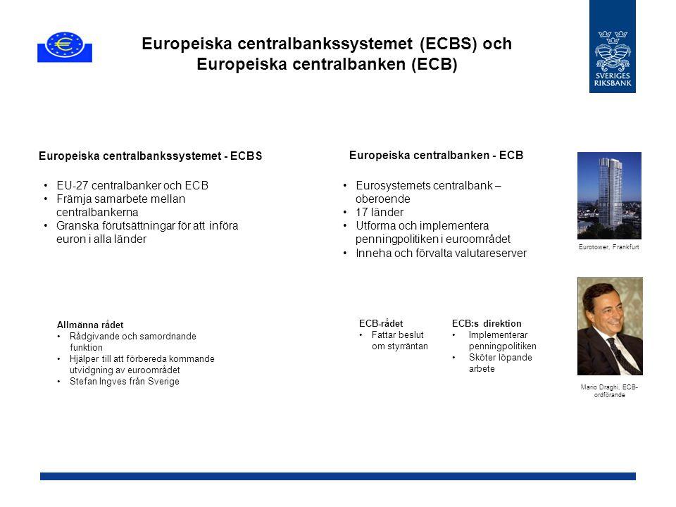 Europeiska centralbankssystemet (ECBS) och Europeiska centralbanken (ECB) Europeiska centralbanken - ECB Eurosystemets centralbank – oberoende 17 länd