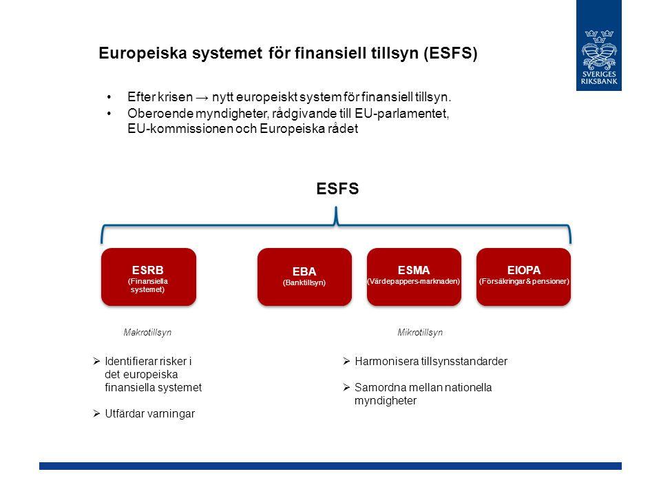 Europeiska systemet för finansiell tillsyn (ESFS) Efter krisen → nytt europeiskt system för finansiell tillsyn. Oberoende myndigheter, rådgivande till