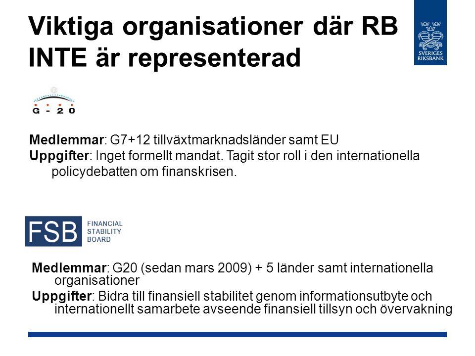 Viktiga organisationer där RB INTE är representerad Medlemmar: G20 (sedan mars 2009) + 5 länder samt internationella organisationer Uppgifter: Bidra t