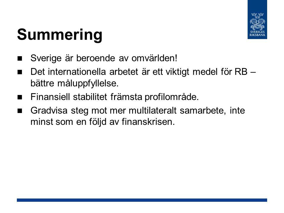 Summering Sverige är beroende av omvärlden! Det internationella arbetet är ett viktigt medel för RB – bättre måluppfyllelse. Finansiell stabilitet frä