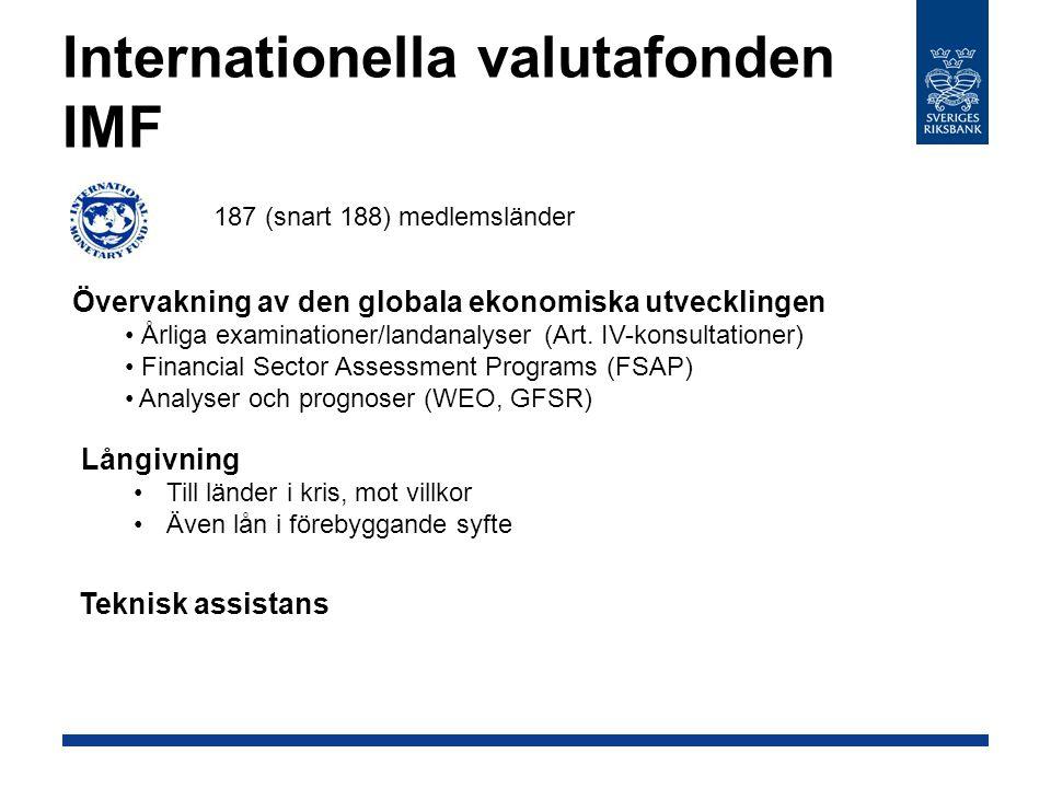 Internationella valutafonden IMF 187 (snart 188) medlemsländer Övervakning av den globala ekonomiska utvecklingen Årliga examinationer/landanalyser (A
