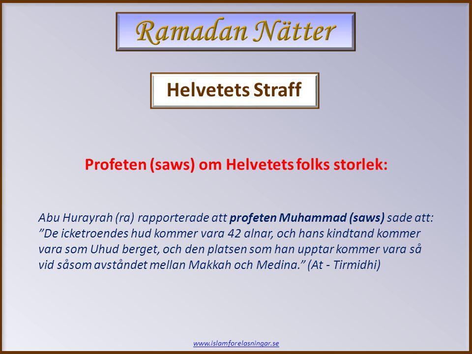 Helvetets Straff www.islamforelasningar.se Abu Hurayrah (ra) rapporterade att profeten Muhammad (saws) sade att: De icketroendes hud kommer vara 42 alnar, och hans kindtand kommer vara som Uhud berget, och den platsen som han upptar kommer vara så vid såsom avståndet mellan Makkah och Medina. (At - Tirmidhi) Profeten (saws) om Helvetets folks storlek: