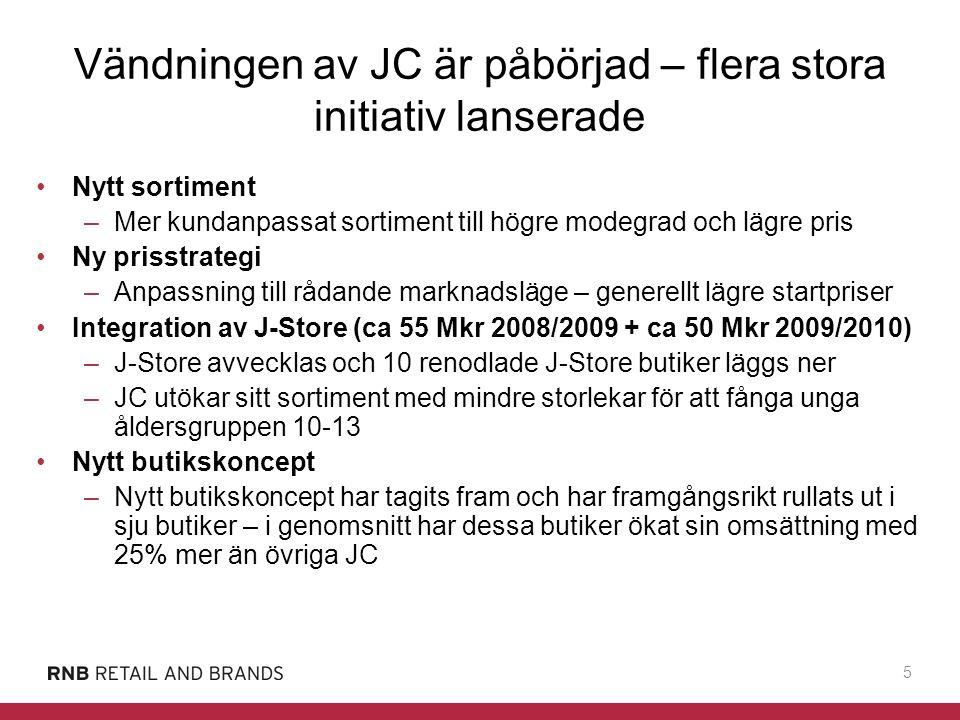 16 Position och agenda 2008/2009 Vi har… –Ompositionerat JC - positiva signaler från konverterade butiker –Stark utveckling inom Brothers, Sisters och PO.P med goda förutsättningar för fortsatt tillväxt –Initierat ett åtgärdsprogram för sänkta kostnader och minskad kapitalbindning Vi ska… –Bromsa –Konsolidera –Lägga grunden för lönsamhet