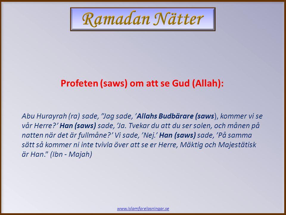 www.islamforelasningar.se Abu Hurayrah (ra) sade, Jag sade, 'Allahs Budbärare (saws), kommer vi se vår Herre?' Han (saws) sade, 'Ja.