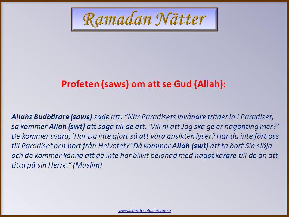 www.islamforelasningar.se Allahs Budbärare (saws) sade att: När Paradisets invånare träder in i Paradiset, så kommer Allah (swt) att säga till de att, 'Vill ni att Jag ska ge er någonting mer?' De kommer svara, 'Har Du inte gjort så att våra ansikten lyser.