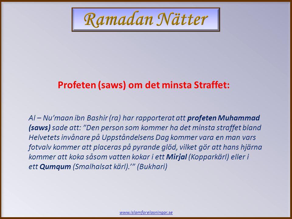 www.islamforelasningar.se Vi skall låta dem som påstår att Våra budskap är lögn brinna i denna eld - i den takt som deras hud förbränns, skall Vi ersätta den med ny hud, så att de får pröva straffet helt och fullt.