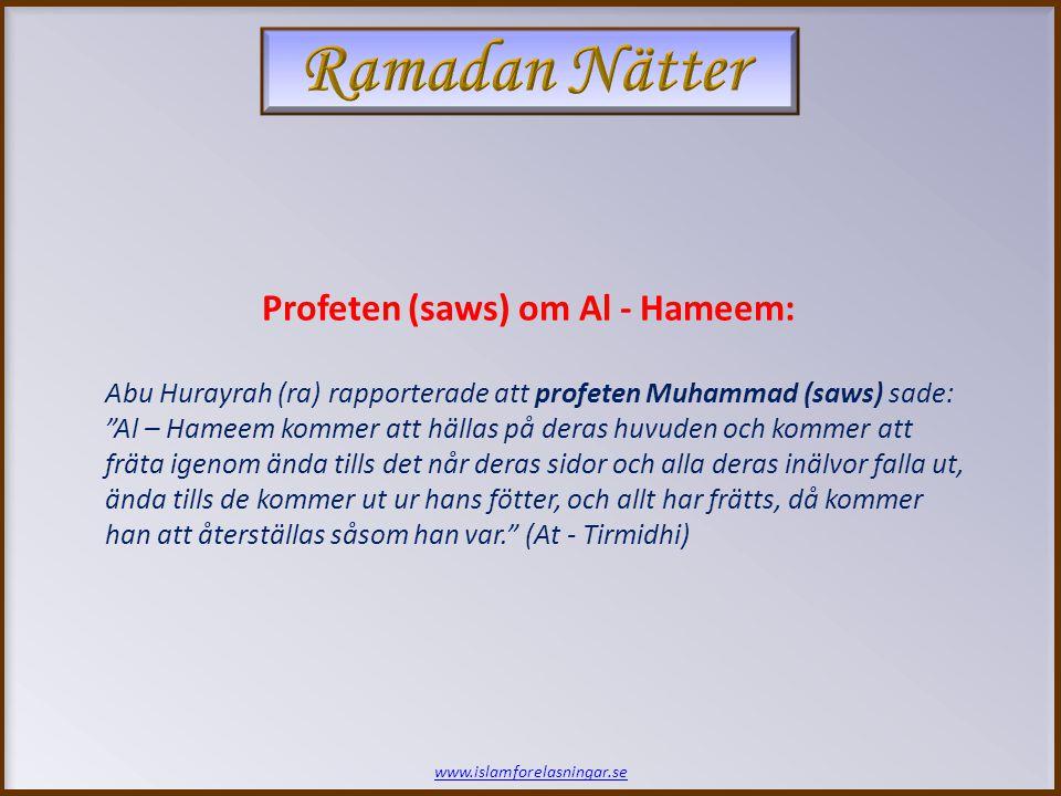 www.islamforelasningar.se [Då skall befallningen ges:] Grip honom och slå honom i en krage av järn och låt helvetets lågor sveda honom.