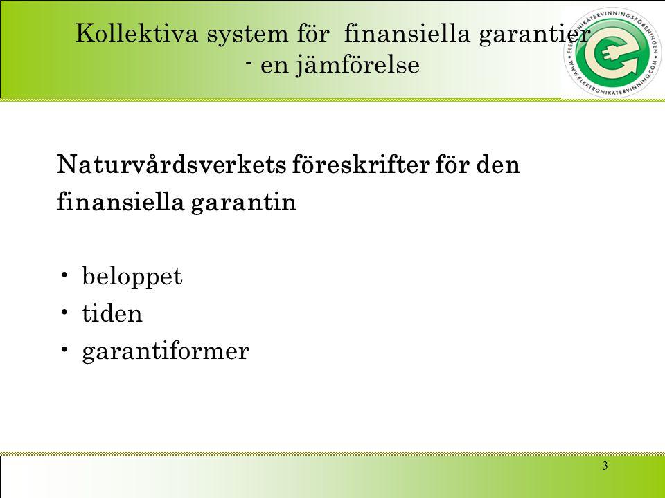 Kollektiva system för finansiella garantier - en jämförelse Naturvårdsverkets föreskrifter för den finansiella garantin beloppet tiden garantiformer 3