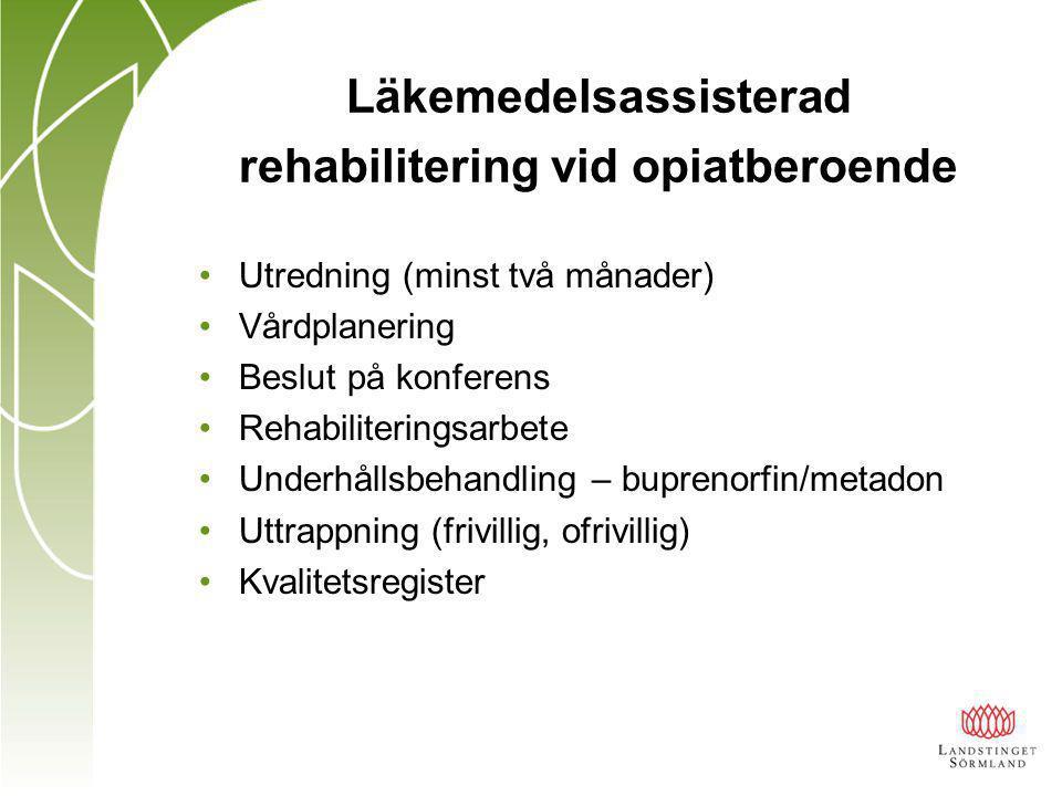Läkemedelsassisterad rehabilitering vid opiatberoende Utredning (minst två månader) Vårdplanering Beslut på konferens Rehabiliteringsarbete Underhållsbehandling – buprenorfin/metadon Uttrappning (frivillig, ofrivillig) Kvalitetsregister