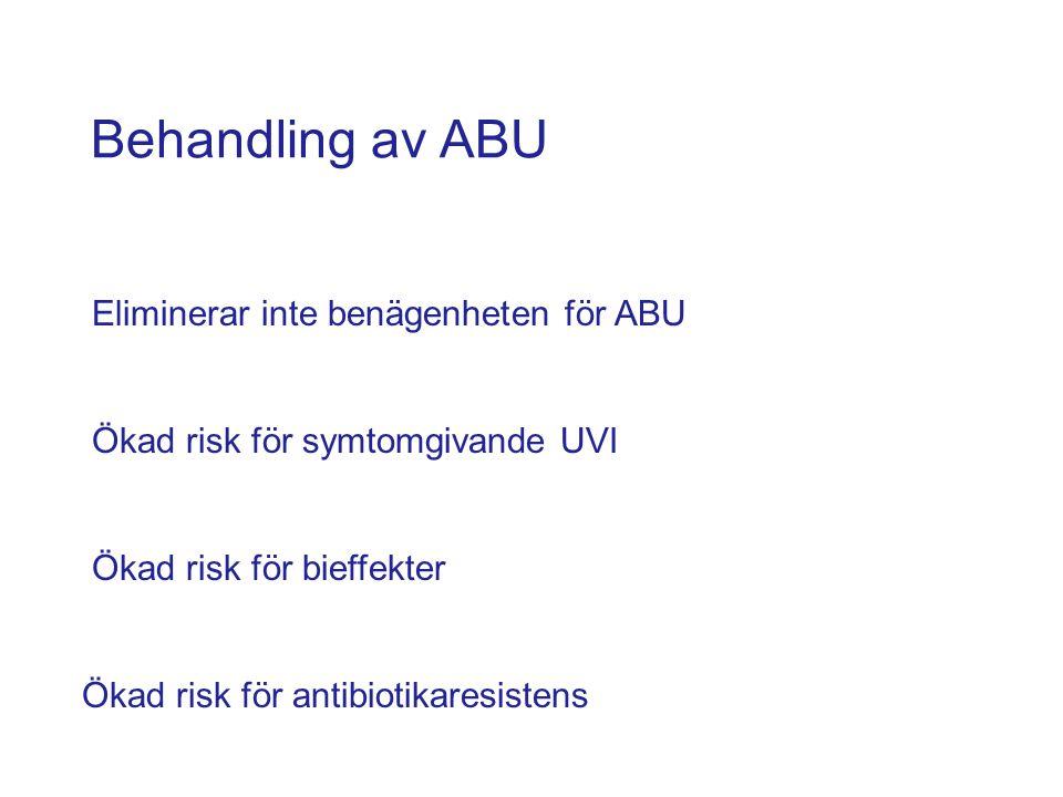 Behandling av ABU Eliminerar inte benägenheten för ABU Ökad risk för symtomgivande UVI Ökad risk för bieffekter Ökad risk för antibiotikaresistens