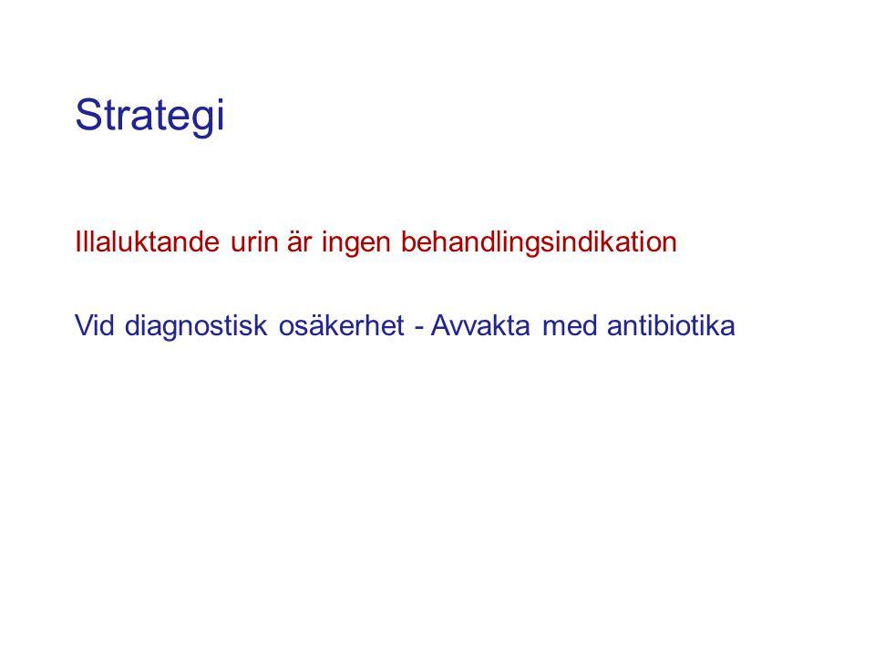 Strategi Illaluktande urin är ingen behandlingsindikation Vid diagnostisk osäkerhet - Avvakta med antibiotika