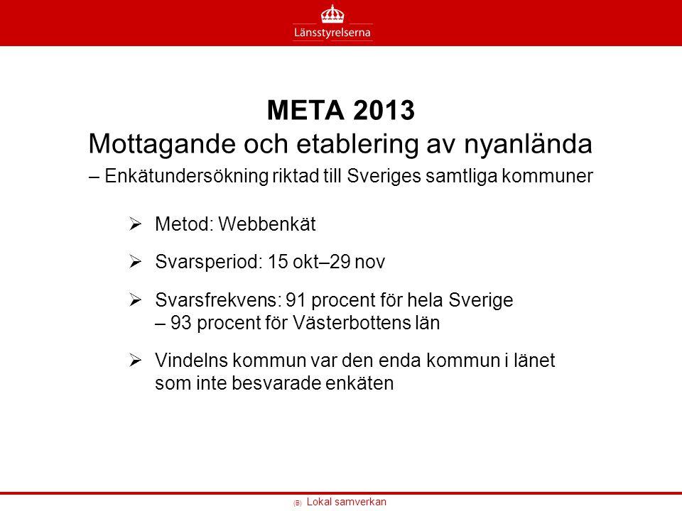 (B) Lokal samverkan META 2013 Mottagande och etablering av nyanlända – Enkätundersökning riktad till Sveriges samtliga kommuner  Metod: Webbenkät  S