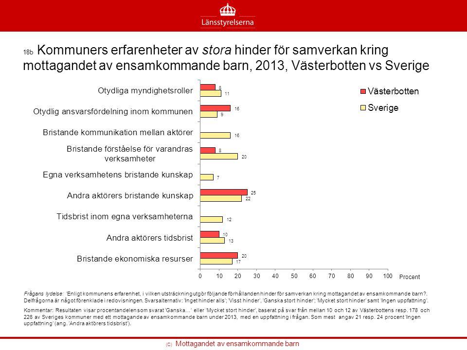 (C) Mottagandet av ensamkommande barn 18b Kommuners erfarenheter av stora hinder för samverkan kring mottagandet av ensamkommande barn, 2013, Västerbo