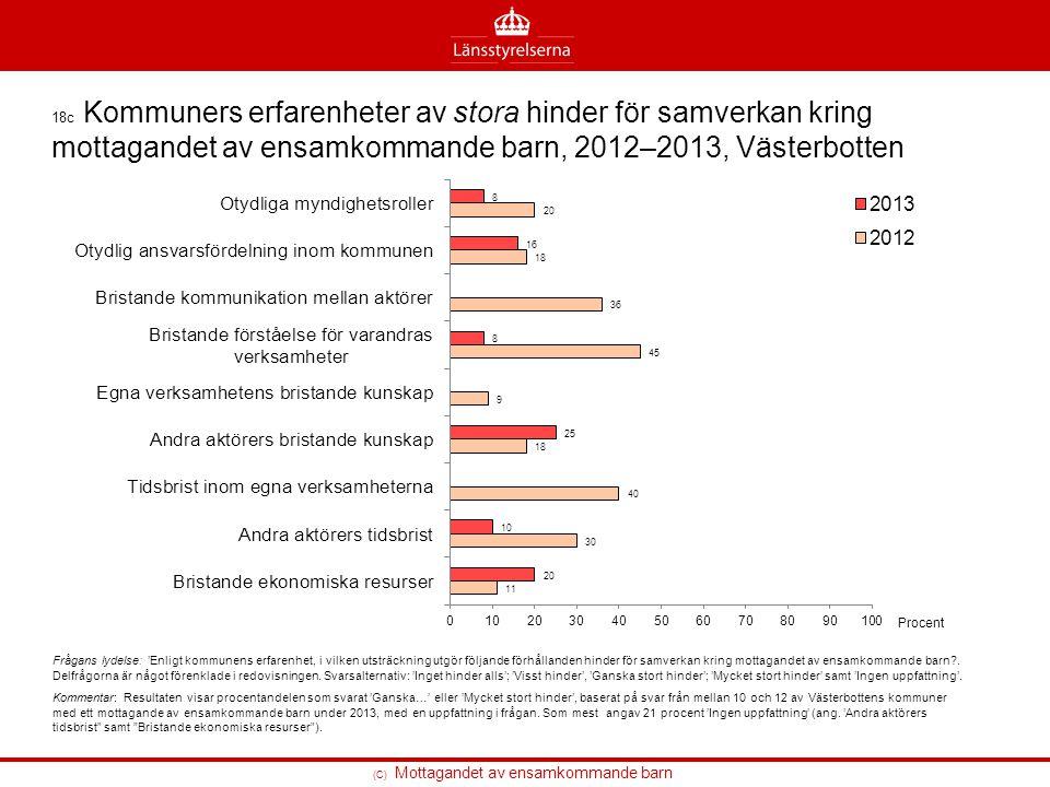 (C) Mottagandet av ensamkommande barn 18c Kommuners erfarenheter av stora hinder för samverkan kring mottagandet av ensamkommande barn, 2012–2013, Väs