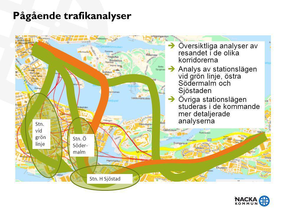 2 Pågående trafikanalyser 2 Stn. vid grön linje Stn. Ö Söder- malm Stn. H Sjöstad  Översiktliga analyser av resandet i de olika korridorerna  Analys