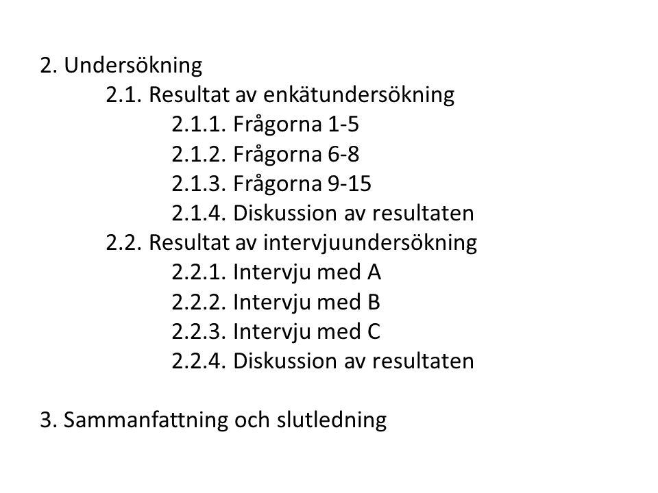 2. Undersökning 2.1. Resultat av enkätundersökning 2.1.1. Frågorna 1-5 2.1.2. Frågorna 6-8 2.1.3. Frågorna 9-15 2.1.4. Diskussion av resultaten 2.2. R