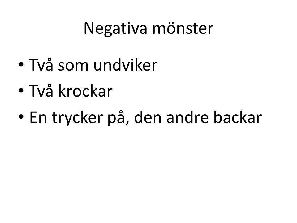 Negativa mönster Två som undviker Två krockar En trycker på, den andre backar