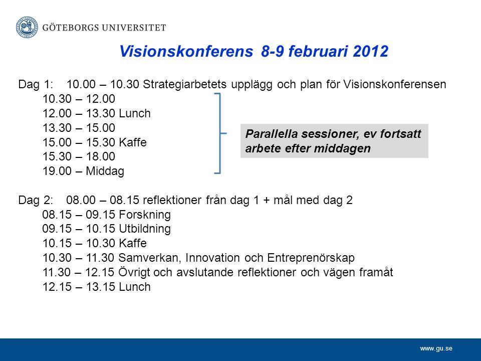 www.gu.se Visionskonferens 8-9 februari 2012 Dag 1:10.00 – 10.30 Strategiarbetets upplägg och plan för Visionskonferensen 10.30 – 12.00 12.00 – 13.30 Lunch 13.30 – 15.00 15.00 – 15.30 Kaffe 15.30 – 18.00 19.00 – Middag Dag 2:08.00 – 08.15 reflektioner från dag 1 + mål med dag 2 08.15 – 09.15 Forskning 09.15 – 10.15 Utbildning 10.15 – 10.30 Kaffe 10.30 – 11.30 Samverkan, Innovation och Entreprenörskap 11.30 – 12.15 Övrigt och avslutande reflektioner och vägen framåt 12.15 – 13.15 Lunch Parallella sessioner, ev fortsatt arbete efter middagen
