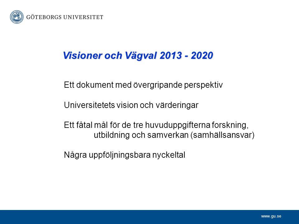 Ett dokument med övergripande perspektiv Universitetets vision och värderingar Ett fåtal mål för de tre huvuduppgifterna forskning, utbildning och samverkan (samhällsansvar) Några uppföljningsbara nyckeltal Visioner och Vägval 2013 - 2020