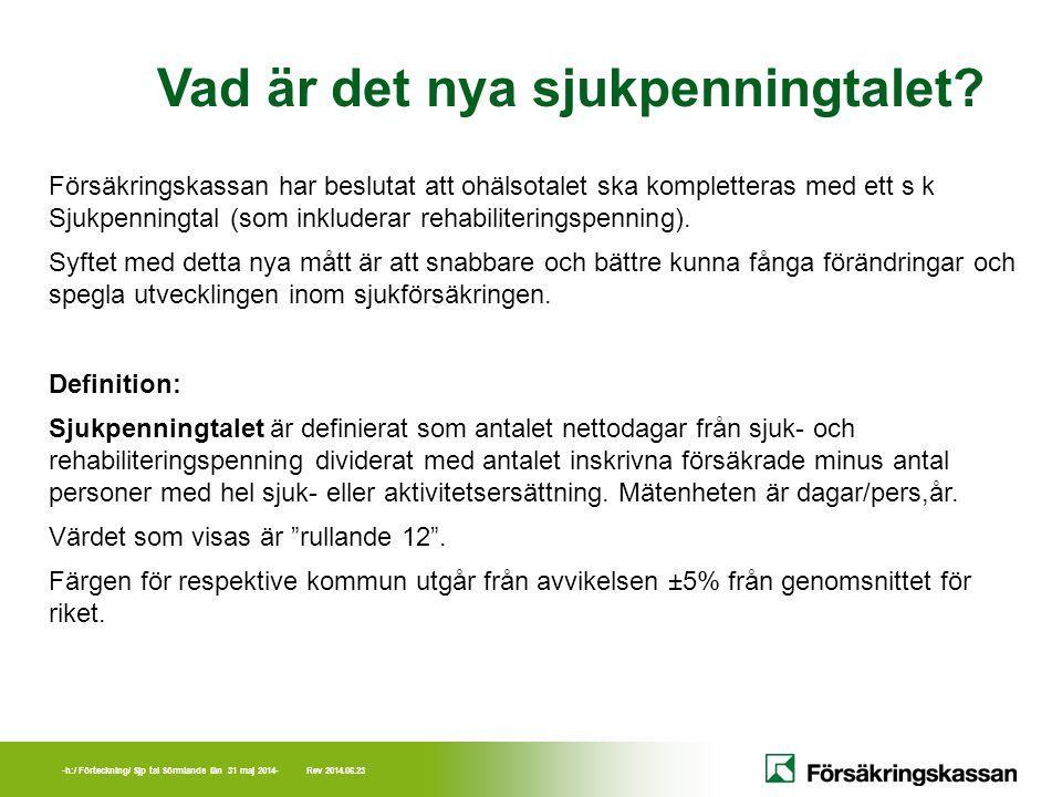 -h:/ Förteckning/ Sjp tal Sörmlands län 31 maj 2014- Rev 2014.06.23 Vad är det nya sjukpenningtalet? Försäkringskassan har beslutat att ohälsotalet sk