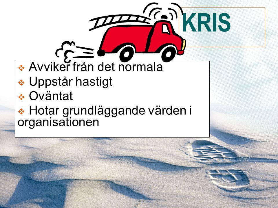  Avviker från det normala  Uppstår hastigt  Oväntat  Hotar grundläggande värden i organisationen KRIS