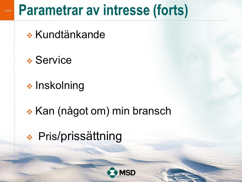 >>> Parametrar av intresse (forts)  Kundtänkande  Service  Inskolning  Kan (något om) min bransch  Pris /prissättning