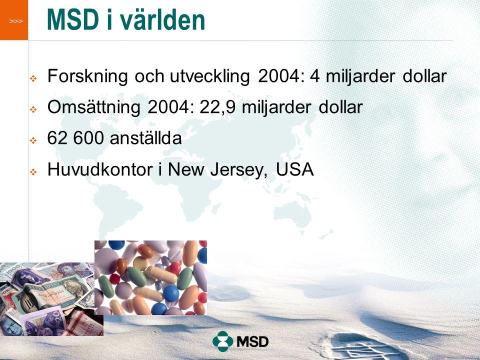 >>> MSD i världen  Forskning och utveckling 2004: 4 miljarder dollar  Omsättning 2004: 22,9 miljarder dollar  62 600 anställda  Huvudkontor i New