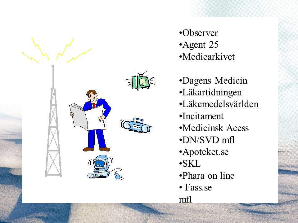 Observer Agent 25 Mediearkivet Dagens Medicin Läkartidningen Läkemedelsvärlden Incitament Medicinsk Acess DN/SVD mfl Apoteket.se SKL Phara on line Fas