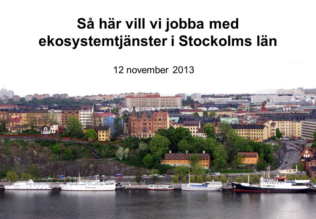 Så här vill vi jobba med ekosystemtjänster i Stockolms län 12 november 2013