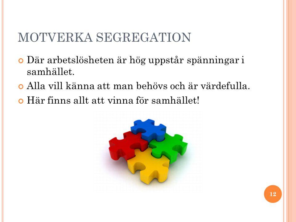 MOTVERKA SEGREGATION Där arbetslösheten är hög uppstår spänningar i samhället.