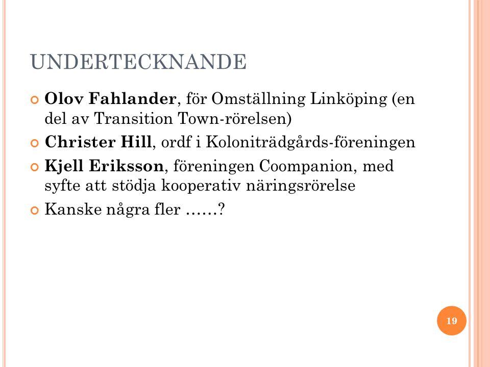 UNDERTECKNANDE Olov Fahlander, för Omställning Linköping (en del av Transition Town-rörelsen) Christer Hill, ordf i Koloniträdgårds-föreningen Kjell Eriksson, föreningen Coompanion, med syfte att stödja kooperativ näringsrörelse Kanske några fler …….