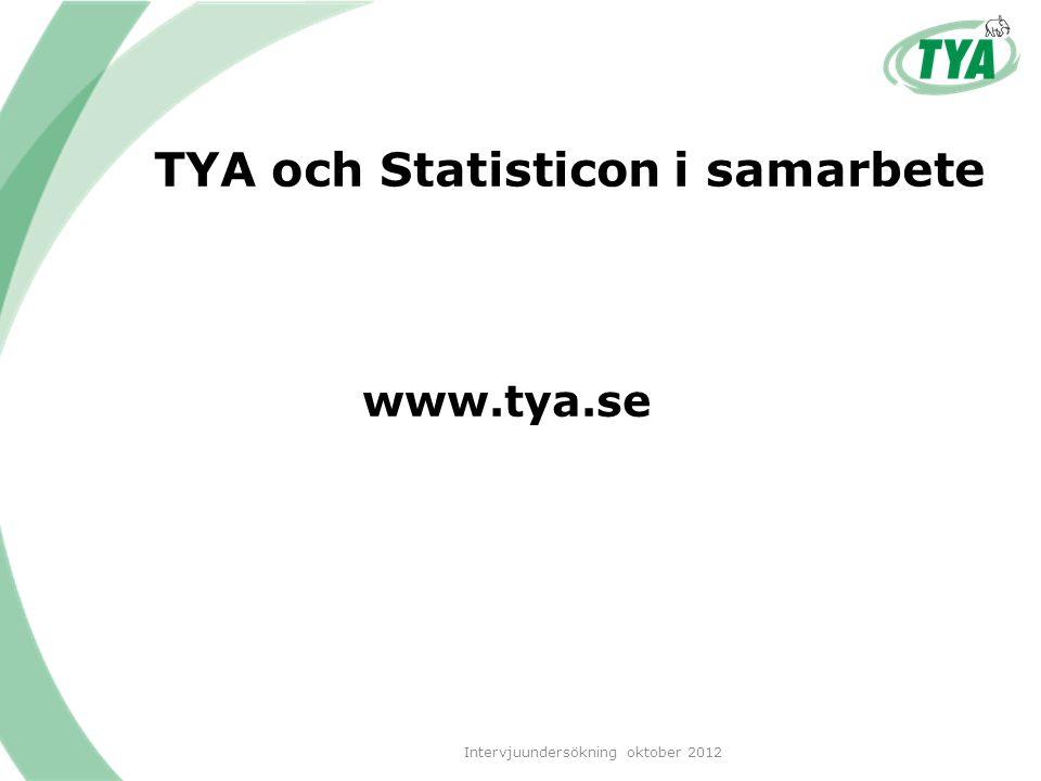 TYA och Statisticon i samarbete www.tya.se Intervjuundersökning oktober 2012