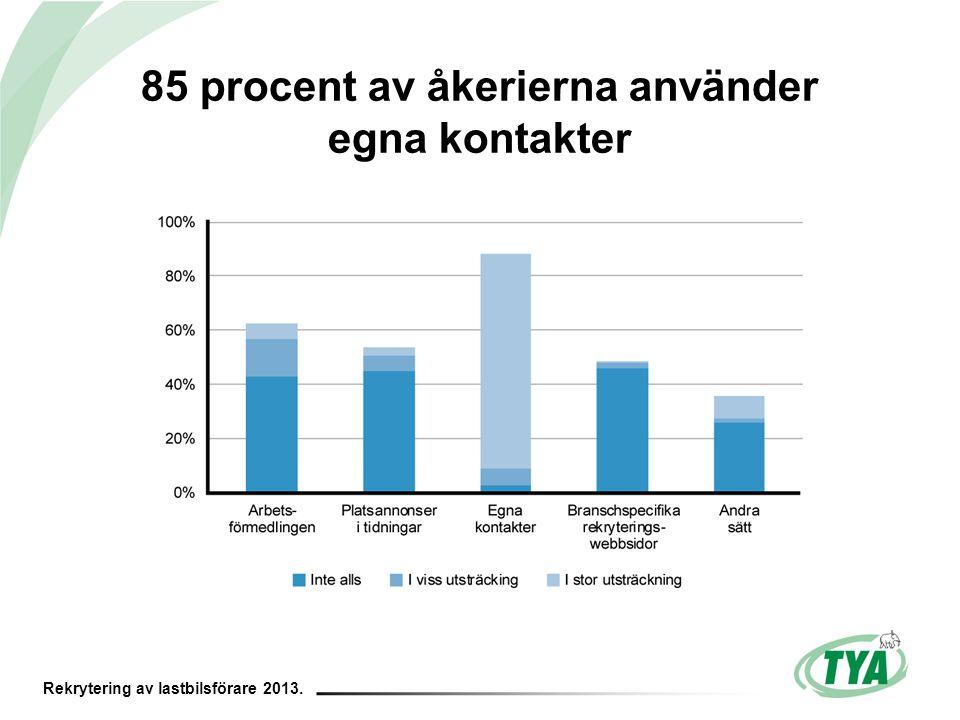 Rekrytering av lastbilsförare 2013. 85 procent av åkerierna använder egna kontakter