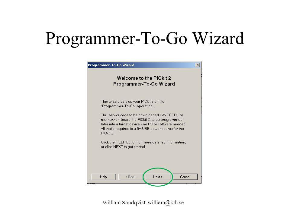 Programmer-To-Go Wizard William Sandqvist william@kth.se