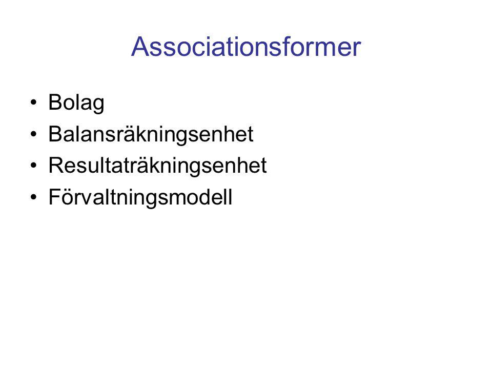 Associationsformer Bolag Balansräkningsenhet Resultaträkningsenhet Förvaltningsmodell
