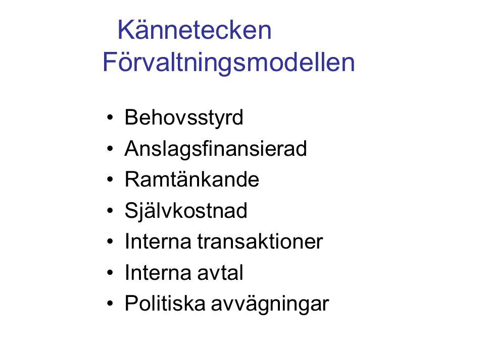 Kännetecken Förvaltningsmodellen Behovsstyrd Anslagsfinansierad Ramtänkande Självkostnad Interna transaktioner Interna avtal Politiska avvägningar