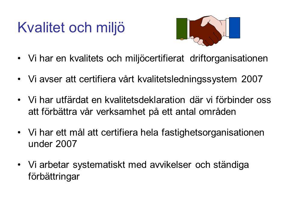 Kvalitet och miljö Vi har en kvalitets och miljöcertifierat driftorganisationen Vi avser att certifiera vårt kvalitetsledningssystem 2007 Vi har utfär