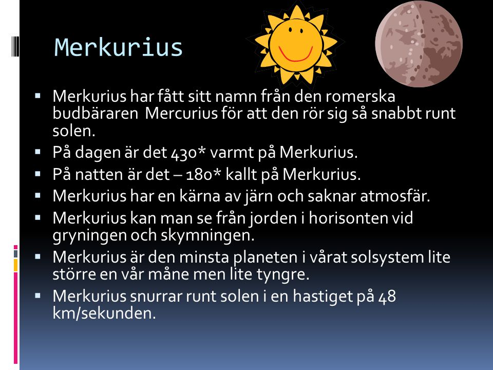 Venus  Venus är ett klot av sten. Venus har en tjock atmosfär och många moln.