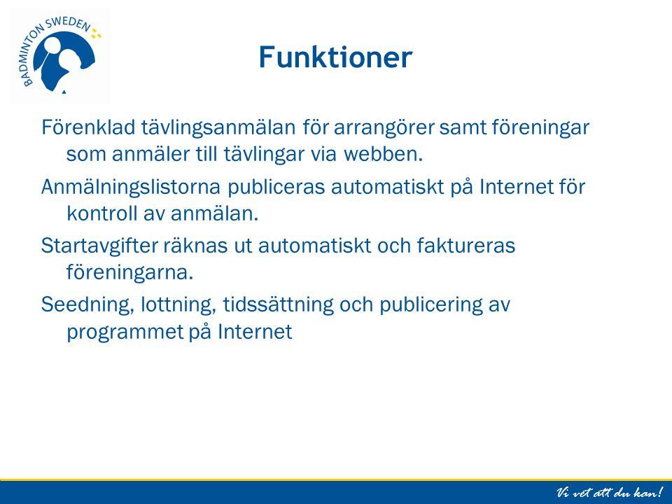 Vi vet att du kan.Information om TP Se Badminton Swedens hemsida, Tävling, Tournament Software.