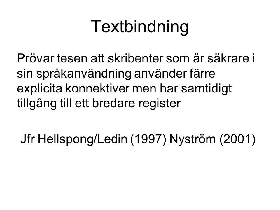 Textbindning Prövar tesen att skribenter som är säkrare i sin språkanvändning använder färre explicita konnektiver men har samtidigt tillgång till ett