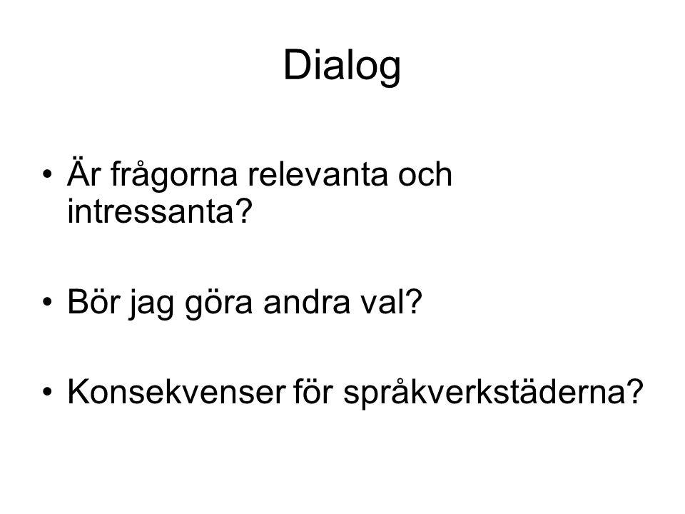 Dialog Är frågorna relevanta och intressanta? Bör jag göra andra val? Konsekvenser för språkverkstäderna?