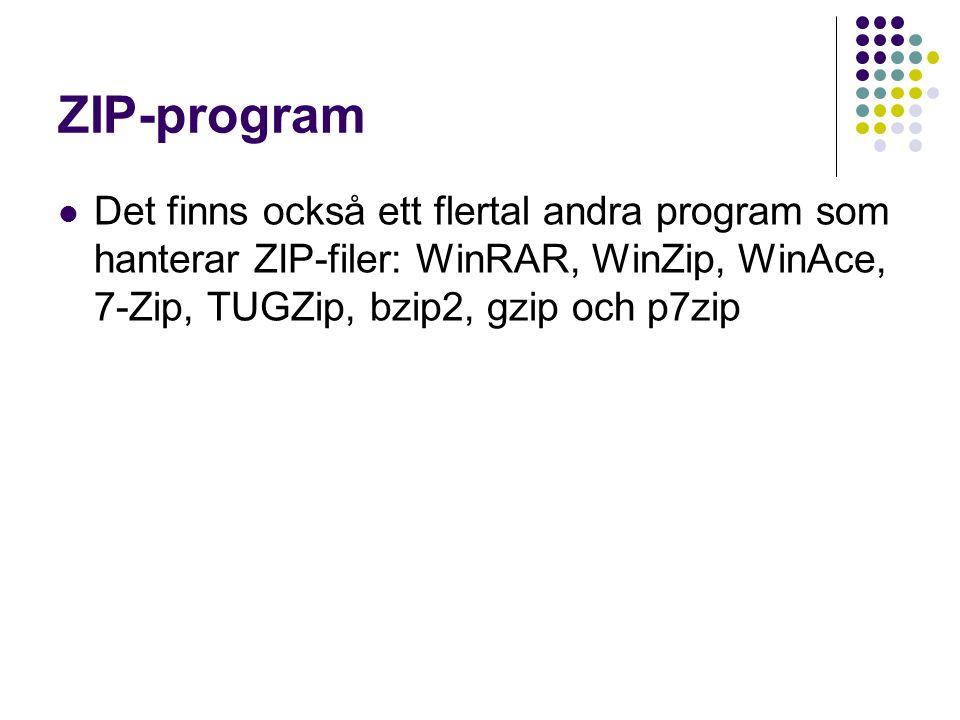 ZIP-program Det finns också ett flertal andra program som hanterar ZIP-filer: WinRAR, WinZip, WinAce, 7-Zip, TUGZip, bzip2, gzip och p7zip