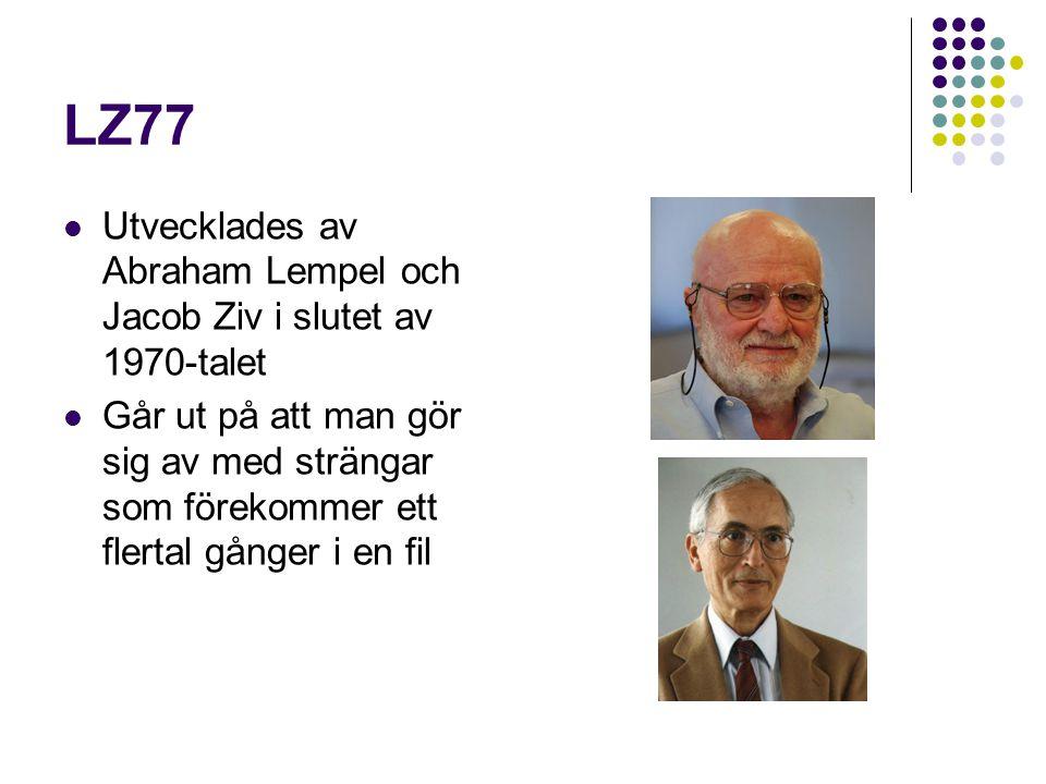 LZ77 Utvecklades av Abraham Lempel och Jacob Ziv i slutet av 1970-talet Går ut på att man gör sig av med strängar som förekommer ett flertal gånger i