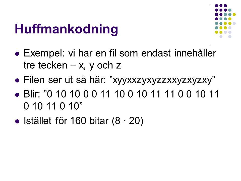 """Huffmankodning Exempel: vi har en fil som endast innehåller tre tecken – x, y och z Filen ser ut så här: """"xyyxxzyxyzzxxyzxyzxy"""" Blir: """"0 10 10 0 0 11"""