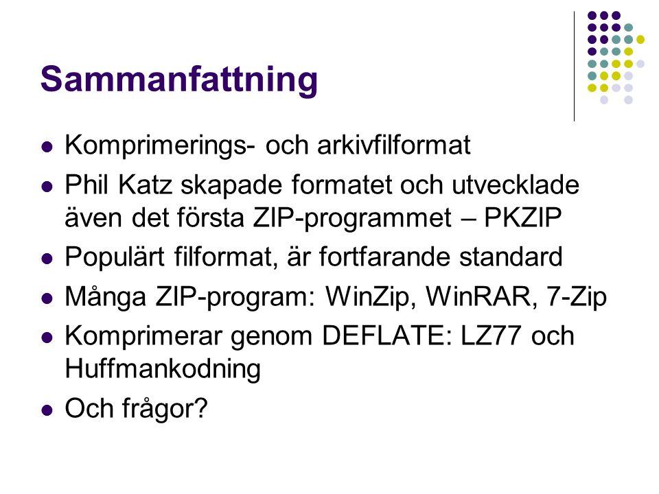 Sammanfattning Komprimerings- och arkivfilformat Phil Katz skapade formatet och utvecklade även det första ZIP-programmet – PKZIP Populärt filformat,